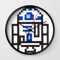 r2d2 Wall Clocks featuring r2d2 by Walter Melon