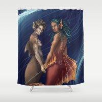 mermaids Shower Curtains featuring Mermaids by laya rose