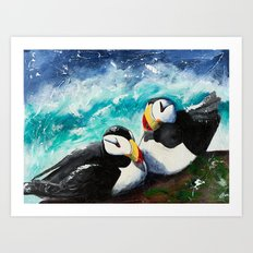 Puffins - Always together - by LiliFlore Art Print