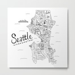Seattle Map Metal Print