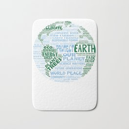Protect Earth - Blue Green Words for Earth Bath Mat