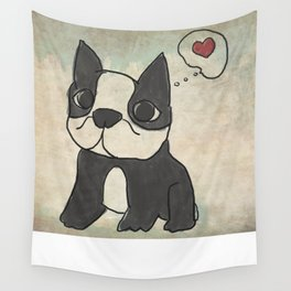 Hand Drawn and Quirky Boston Terrier San Jones Illustration Wall Tapestry
