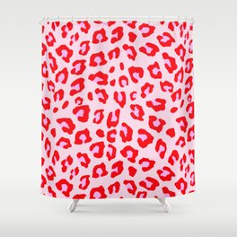 Leopard Print - Red And Pink Shower Curtain