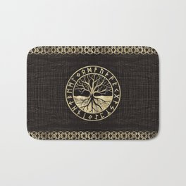 Tree of life  -Yggdrasil and  Runes on wooden texture Bath Mat