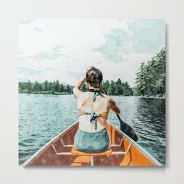 Row Your Own Boat #illustration #decor #painting Metal Print