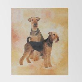 Airedale Terriers Digital Art Throw Blanket
