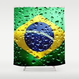 Flag of Brazil - Raindrops Shower Curtain