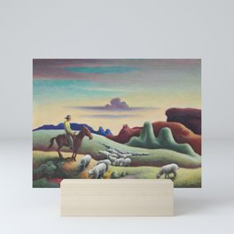 Navajo Sands, Monument Valley shepard with flock of sheep landscape painting by Thomas Hart Benton Mini Art Print