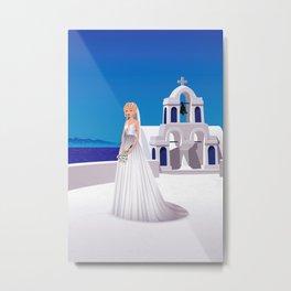 Bride in Mykonos Metal Print