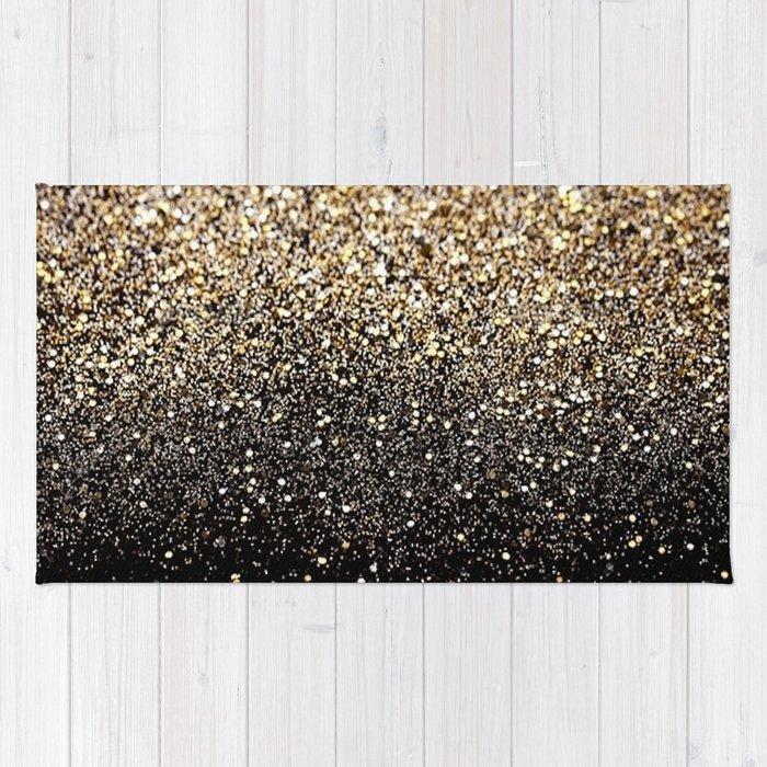 Black Gold Sparkle Rug