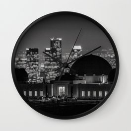 Griffith Observatory, Los Angeles city lights black and white photograph / black and white photography Wall Clock