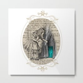 Follow The White Rabbit - Vintage Book Metal Print