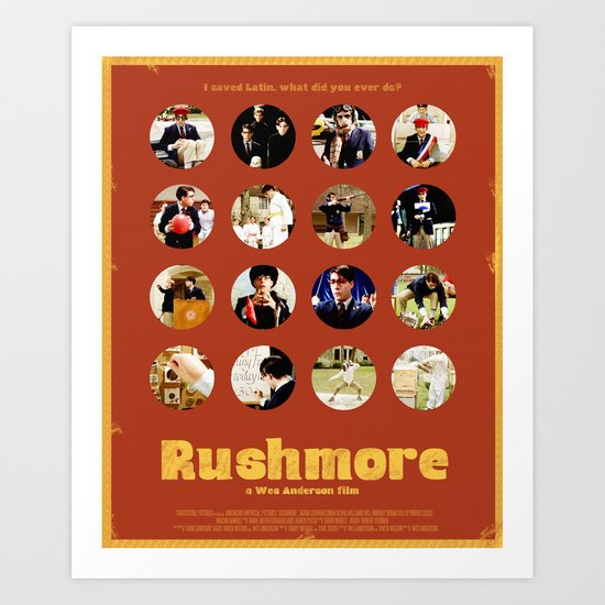 Wes Anderson / Rushmore - The Many Faces of Max Fischer Art Print