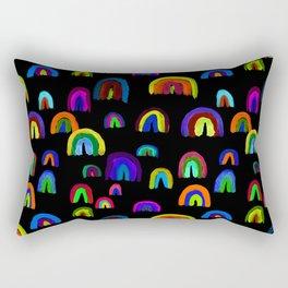 Happy Little Watercolor Rainbows in Mod Multi + Black Rectangular Pillow