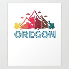 Retro Oregon Mountain Design for Men Women and Kids Art Print