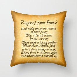 Prayer of Saint Francis - Gold Throw Pillow