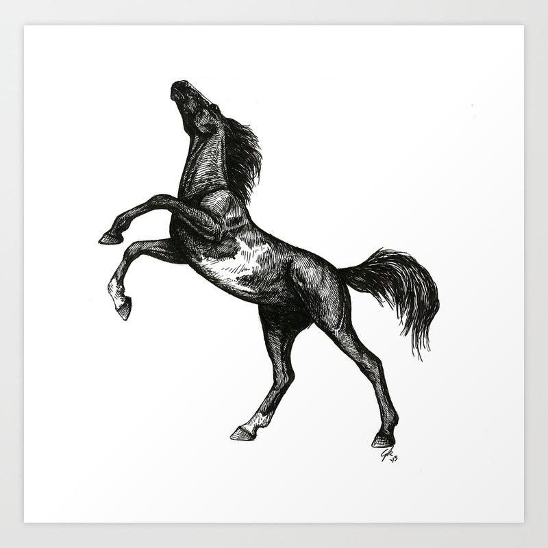 Rearing Horse Art Print By Artbyep Society6