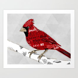 Cardinal Bird Lost Loved One Visiting Art Print
