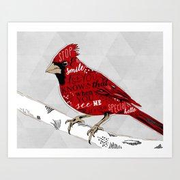 Cardinal Bird Lost Loved One Visiting Art Print