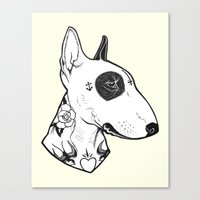 bull terrier Canvas Prints featuring Bull Terrier dog Tattooed by PaperTigress