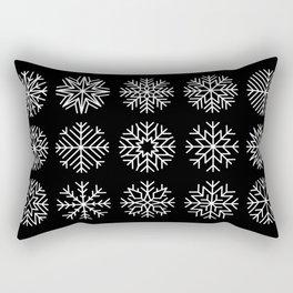 minimalist snow flakes on black Rectangular Pillow