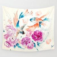 koi Wall Tapestries featuring Koi  by Syarifah Nadhirah