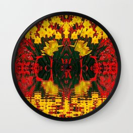 MODERN GARDEN DECORATIVE RED YELLOW DAFFODILS Wall Clock