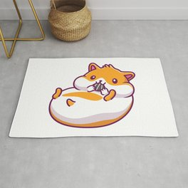 Cute Hamster Eating Icon Illustration Hamster Mascot Cartoon Character Animal Icon Concept Isolated Rug