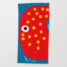 Red Fish illustration for kids Beach Towel