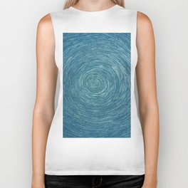 Aqua Blue Ocean Swirl Vortex Typhoon Modern Art Biker Tank