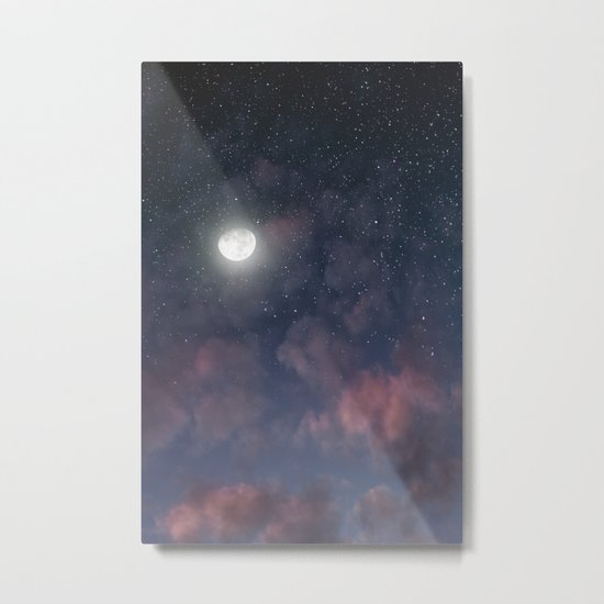 Glowing Moon on the night sky through pink clouds Metal Print