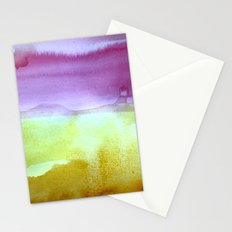 Abstract Watercolor Painting, Purples, Greens, Mustard Yellow Home Goods Stationery Cards