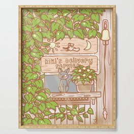 Jiji in the Window - Brown Green Serving Tray