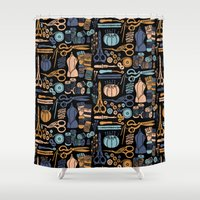 sewing Shower Curtains featuring Sewing Notions Block Print by Andrea Lauren Design