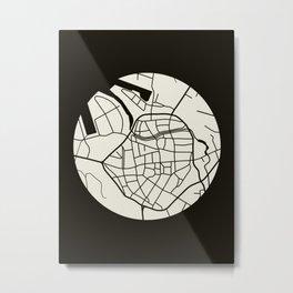 Wismar Karte Rund Dark Metal Print