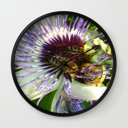 Close Up Of Passion Flower with Honey Bee  Wall Clock