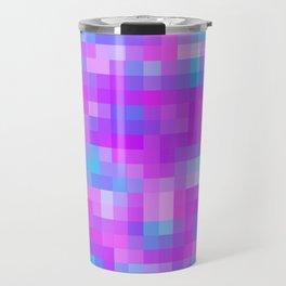 blue pink and purple pixel Travel Mug