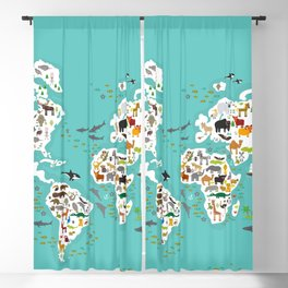 Cartoon animal world map for children and kids, Animals from all over the world back to school Blackout Curtain