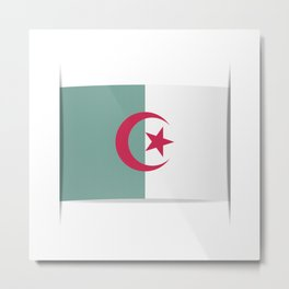 Flag of Algeria. The slit in the paper with shadows.  Metal Print