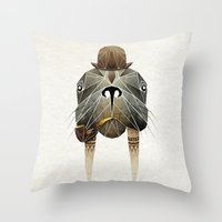 walrus Throw Pillows featuring walrus by Manoou