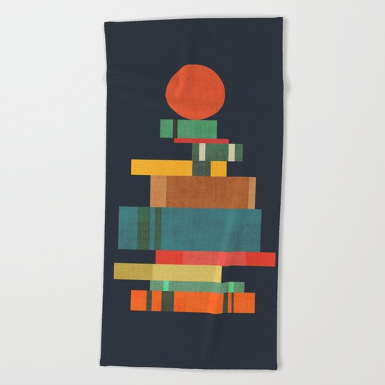 Book stack with a ball Beach Towel