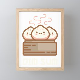 DIM SUM Funny Dumplings Asian Food Fan Gift design Framed Mini Art Print