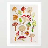 mushrooms Art Prints featuring Mushrooms by Cat Coquillette