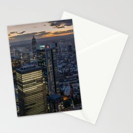 Frankfurt Germany megalopolis Evening Skyscrapers Cities Building Megapolis Houses Stationery Cards