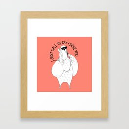 Dove singing Stevie Wonder   Animal Karaoke   Illustration   Red Framed Art Print