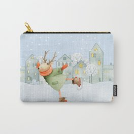 Merry christmas- Ice skating Deer and squirrel are having Winter fun Carry-All Pouch