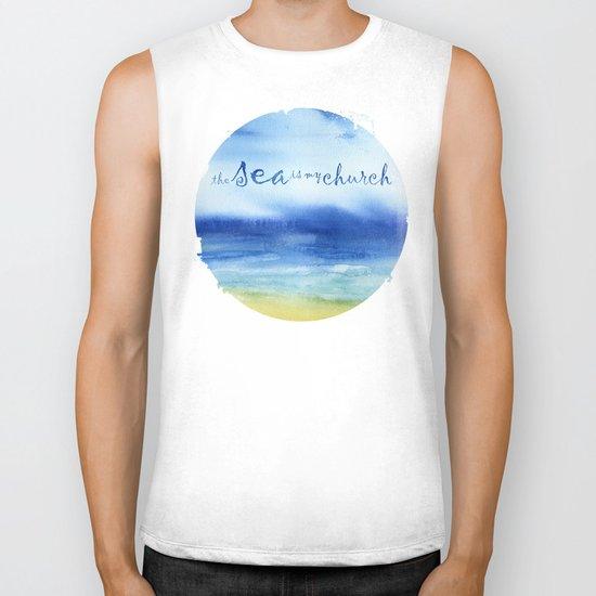 The Sea Is My Church (text) Biker Tank