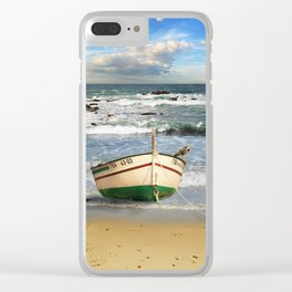 The fishing boat on the beach Clear iPhone Case