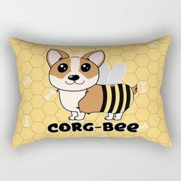 CorgBEE Cute Corgi Bee design for dog lovers - summer, spring, yellow, animal lover Rectangular Pillow