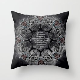 Gather Ye Rosebuds-Life, Death and Time Throw Pillow